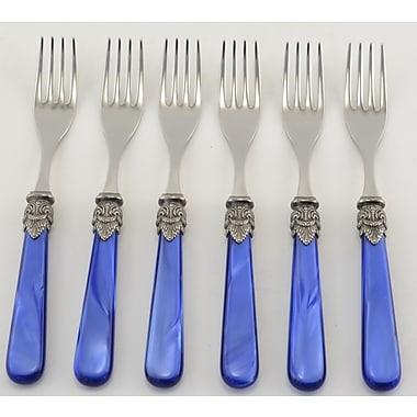 EME Italian Flatware Napolean Salad/Dessert Fork (Set of 6); Pearl Blue