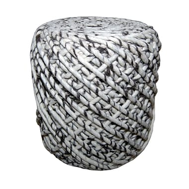 Foreign Affairs Home Decor Round Wool Pouf WONDER in Black & White Zebra Pattern