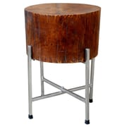 Foreign Affairs Home Decor Solid Natural Wood Block Accent Table STAN w/ Cross-leg Silver Stand