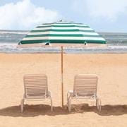 Frankford Umbrellas 7.5' Beach Umbrella; Teal / White Stripe