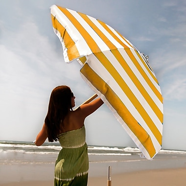 Frankford Umbrellas 7.5' Beach Umbrella; Yellow / White Stripe