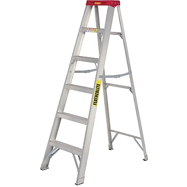 Featherlite Commercial Duty Aluminum Stepladders (2400 Series), 8'