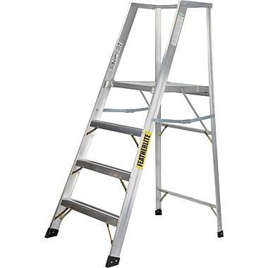 Featherlite Extra Wide Heavy-Duty Industrial Aluminum Platform Stepladders (3500-XW Series), 6'