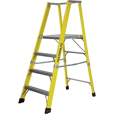 Featherlite Extra Wide Heavy-Duty Industrial Fibreglass Platform Stepladders (6500-XW Series), 5'