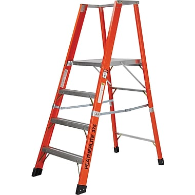 Featherlite Extra Wide Extra Heavy-Duty Industrial Fibreglass Platform Stepladders (7500-XW Series), 8'