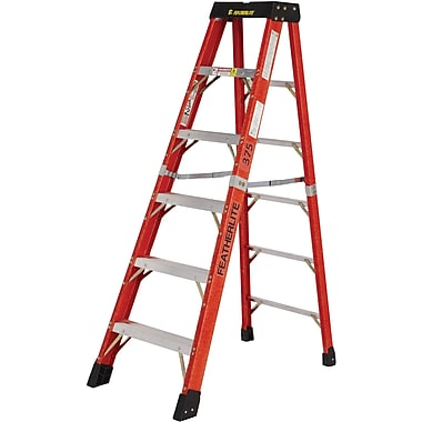 Featherlite Industrial Extra Heavy-Duty Fibreglass Stepladders (6800 AA Series), 12'