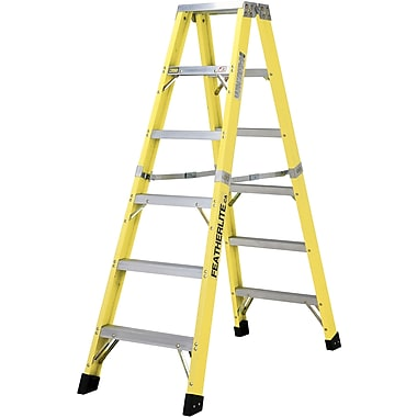 Featherlite Industrial Heavy-Duty Fibreglass 2-Way Stepladders (6600 Series), 10'