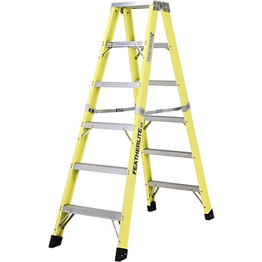 Featherlite Industrial Heavy-Duty Fibreglass 2-Way Stepladders (6600 Series), 5'