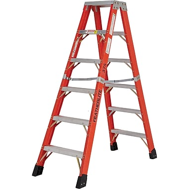 Featherlite Industrial Extra Heavy-Duty Fibreglass 2-Way Stepladders (6600 AA Series), 10'