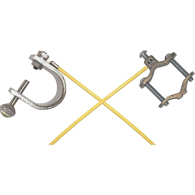 Lind Equipment Light-Duty Bonding and Grounding Wire Assemblies, Pipe Clamp with Large C-Clamps, 36