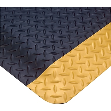 Wearwell – Tapis SMART Diamond-Plate de 1 po, no 497, 2 x 75 pi, noir/jaune