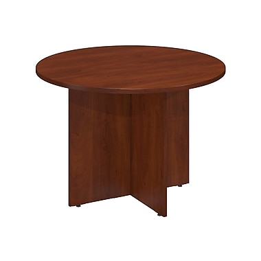 Bush® Business 42W Round Conference Table with Wood Base, Hansen Cherry