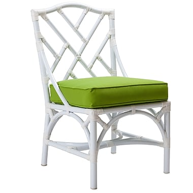 David Francis Furniture Chippendale Patio Dining Chair w/ Cushion; Glacier