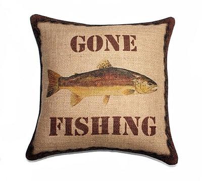 TheWatsonShop Gone Fishing Burlap Throw Pillow