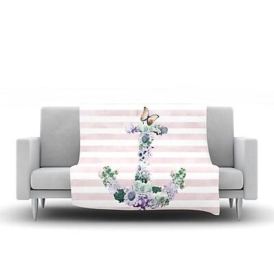 KESS InHouse Floral Anchor by Nika Martinez Fleece Throw Blanket; 80'' H x 60'' W x 1'' D