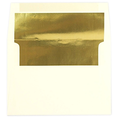 JAM Paper® A7 Foil Lined Envelopes, 5.25 x 7.25, Ecru Ivory with Gold Lining, 250/box (2354150H)