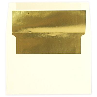 JAM Paper® A7 Foil Lined Envelopes, 5.25 x 7.25, Ecru Ivory with Gold Lining, 50/pack (2354150I)