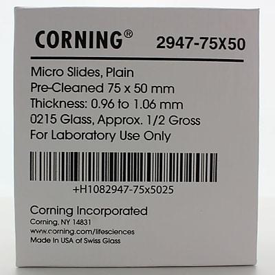 Corning Plain Microscope Slide, 75 x 50 mm, 10/Pack