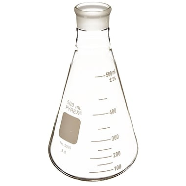 Pyrex Wide Mouth Borosilicate Erlenmeyer Flask, 500ml