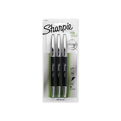 Sharpie® Pen with Grip, Fine Point, Black, 3/pk (1758052)
