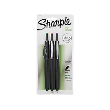 Sharpie® Retractable Pens, Fine Point, Assorted Fashion Colors, 3/pk (1763978)
