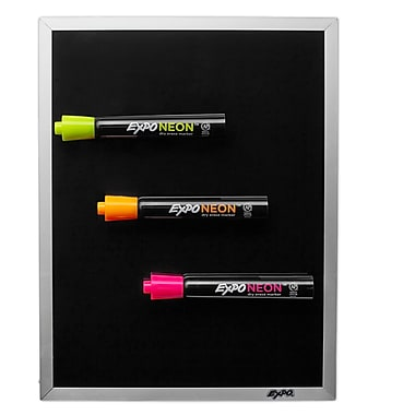 Expo® Black Magnetic Dry-Erase Board with Neon Markers, 8