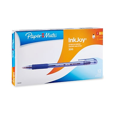 Paper Mate® InkJoy® 300ST Ballpoint Pens, Fine Point, Blue, Box of 12 (1951373)