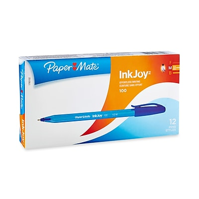Paper Mate® InkJoy 100 Ballpoint Stick Pens, Medium, Blue, 12/pk (1783152)