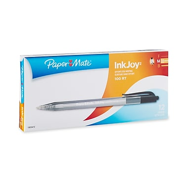 Paper Mate® InkJoy® 100RT Retractable Ballpoint Pens, Medium Point, Black, Box of 12 (1951254)