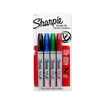 Sharpie® Permanent Markers, Brush Tip, Assorted Colors, 4/pk (1810701)