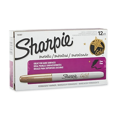 Sharpie® Metallic Fine Point Permanent Markers, Gold, 12/pk (1823887)