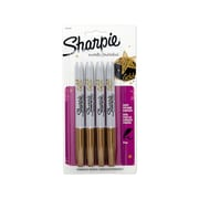 Sharpie® Metallic Permanent Markers, Fine Point, Gold, 4/pk (1829198)
