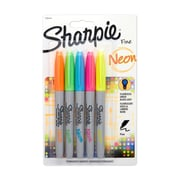 Sharpie® Neon Fine Point Permanent Markers, 5/pk (1860443)