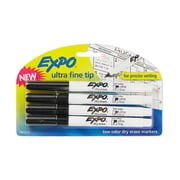 Expo® Low Odor Dry-Erase Markers, Ultra Fine Tip, Black, 4/pk (1871774)