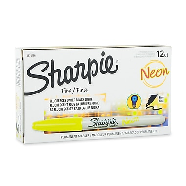 Sharpie® Neon Permanent Markers, Fine Point, Neon Yellow, 12/pk (1878456)