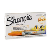 Sharpie® Neon Permanent Markers, Fine Point, Neon Orange, 12/pk (1878457)