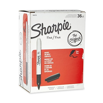 Sharpie® Permanent Markers, Fine Point, Black, 36/Pack (1884739)