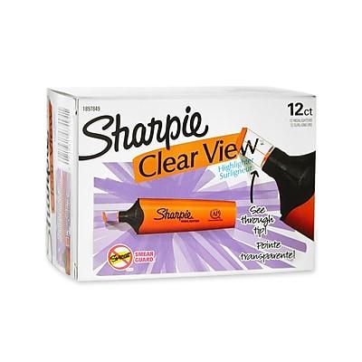 Sharpie® Clear View Highlighter, Chisel Tip, Orange, 12/pk (1897849)