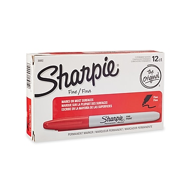 Sharpie® Fine Point Permanent Markers, Red, 12/pk (30002)