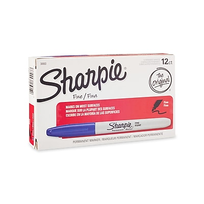 Sharpie Fine Point Permanent Markers, Blue, 12/pack (30003)