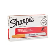 Sharpie® Permanent Marker, Fine Point, Orange, 12/pk (30006)