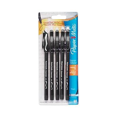 Paper Mate® Erasermate® Pen, Medium Point, Black, 5/pk (3163558PP )