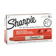 Sharpie® Twin-Tip Permanent Markers, Fine Point and Ultra Fine Point, Red, 12/pk (32002)