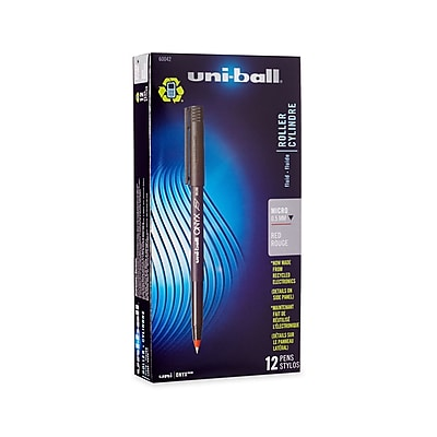 uni-ball® Onyx Rollerball Pen, Micro Point, Red, 12/pk (60042)