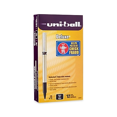 uni-ball® Deluxe Rollerball Pen, Fine Point, Black, 12/pk (60052)