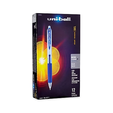 uni-ball® Gel RT™ Retractable Pens, Micro Point, Blue, Dozen (69035)