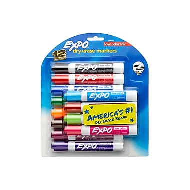 Expo® Low Odor Chisel Tip Dry-Erase Markers, Assorted, 12/pk (80699)
