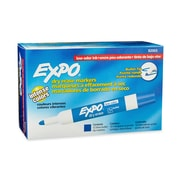 Expo® Low Odor Dry-Erase Markers, Bullet Tip, Blue, 12/pk (82003)
