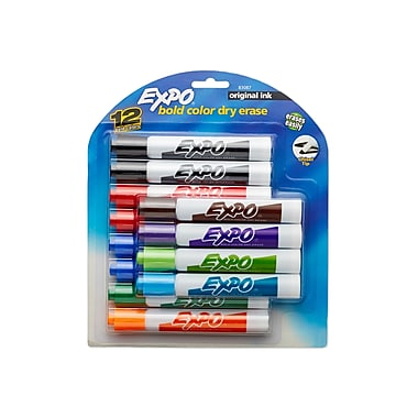 Expo® Chisel Tip Dry-Erase Markers, Assorted, 12/pk (83087)