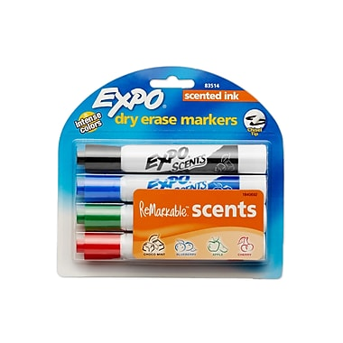EXPO® Scents Dry-Erase Markers, Chisel Tip, Assorted, 4/pk (83514)